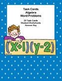 Algebra- Word Problems-20 Task Cards