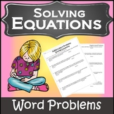 Algebra: Word Problems {Algebra 1 Worksheet} {Algebra Word Problems Activity}