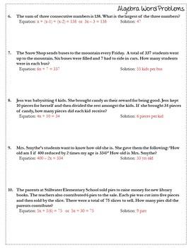 Algebra: Word Problems {Algebra 1 Worksheet} {Algebra Word Problems Activity}