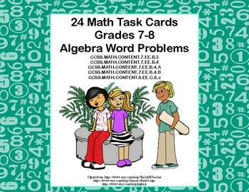 Algebra Word Problems-Grades 7-8 -Task Cards