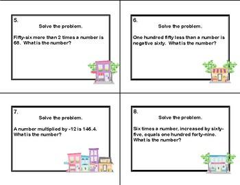 Algebra- Word Problems--Task Cards-Grades 6-8