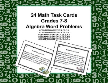 Algebra Word Problems-Task Cards-Grades 7-8
