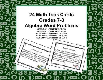 Algebra Word Problems-Task Cards-Grades 7-8