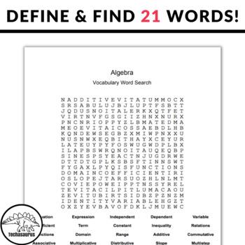 Algebra Word Search