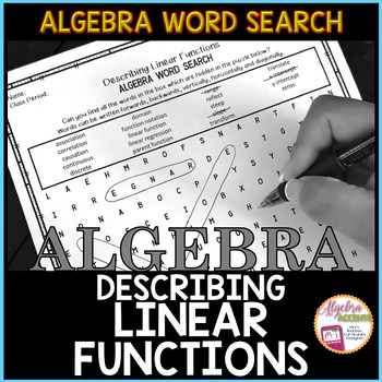 Algebra Word Search: Describing Linear Functions