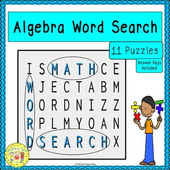 Algebra Word Search Puzzles