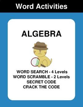 Algebra - Word Search Puzzles, Word Scramble,  Secret Code,  Crack the Code