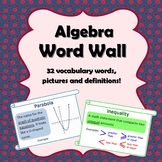 Algebra Word Wall (ESL Friendly)