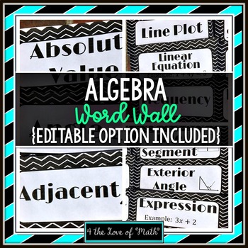 Algebra Word Wall Strips: (96 in all!)