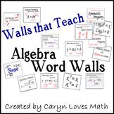 Algebra Word Wall, Walls that Teach, 100+ Concepts