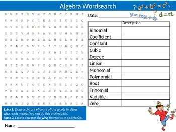 Algebra Wordsearch Sheet Math Mathematics Starter Activity Keywords