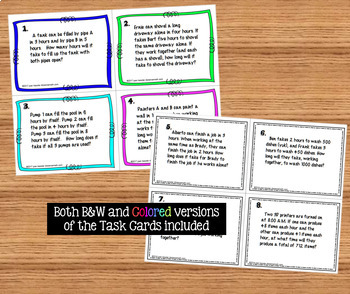 Algebra Work Word Problems plus Task Cards