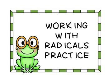 Algebra Working with Radicals Practice