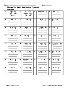 Algebra Worksheet- Distributive Property