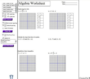 Algebra Worksheet Generator by Rhett Sivillo | Teachers Pay Teachers