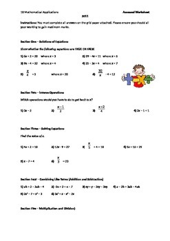 Algebra Worksheet - Great for quick assessment or homework