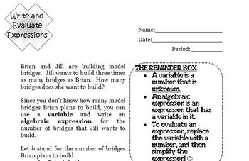 Algebra Worksheet: Write and Evaluate Expressions--Elementary Level