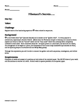 Algebra Worksheet on Fibonacci Numbers with additional questions