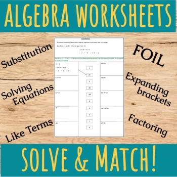Algebra Worksheets - Like terms, FOIL, Substitution, Factoring.