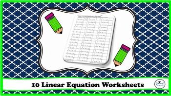 Algebra Worksheets- Graphing Linear Equation, Slope, Y-Intercepts