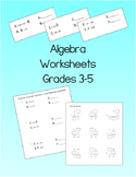 Algebra Worksheets for Grade 3 to Grade 5