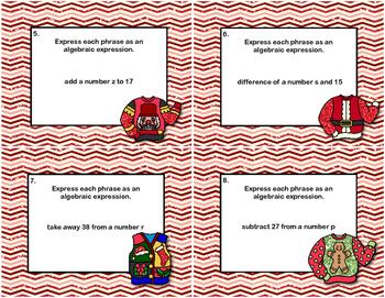 Algebra- Writing Algebraic Expressions- Grade 6 - 32 Task Cards