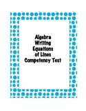 Algebra Writing Equations of Lines - Competency Test