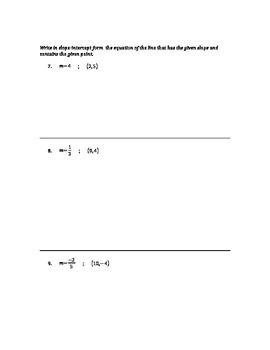 Algebra - Writing Equations of Lines in Slope-Intercept Form #3