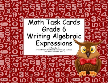 Algebra- Writing Expressions- Grade 6-Math Task Cards- Owl Theme