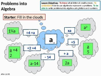 Algebra: Writing Problems using or in Algebra (expressions, equations, formula)
