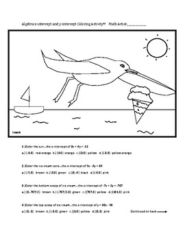 Algebra: x intercept and y intercept Seagull Coloring Activity
