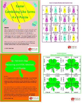 Algebra Year Long Activities Bundle Including Holiday and Seasonal Activities