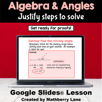 Algebra and Angles Intro to Proofs by solving unknown angles