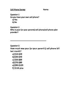 Grade 8 Algebra Choosing a Cellphone Plan