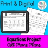 Algebra and Equations Mini Project End of Year or Topic  M