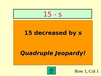 Algebra and Expressions Jeopardy Review