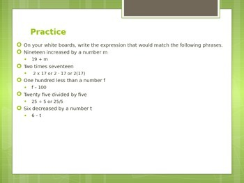 Algebra and Expressions PowerPoint
