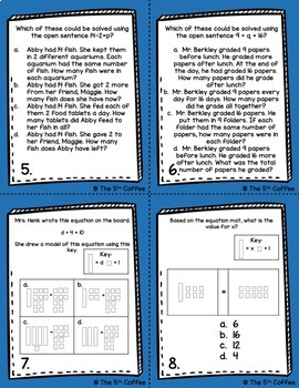 Algebra and Variables Task Cards