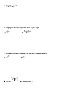 Algebra exponent expressions and simplification