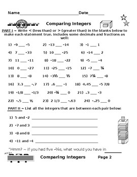 Algebra for Thinkers PLUS Comparing Integers Using Less Than Greater Than