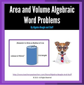 Area and Volume Algebraic Word Problems