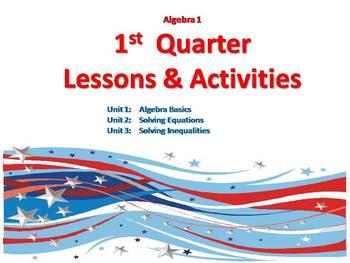 Algebra1 1st Quarter Lessons & Review Games Bundle