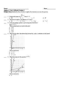 Algebra1 Unit 1 (foundations) Khan Academy aligned mixed assessments