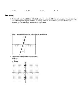 Algebra1 Unit 10 (systems inequ) Khan Academy aligned mixed assessments