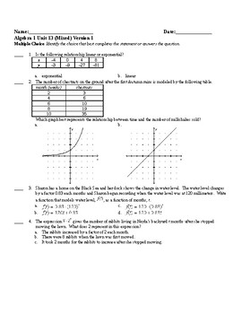 Algebra1 Unit 13 (exponential) Khan Academy aligned mixed assessments