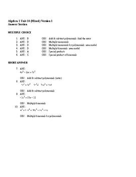 Algebra1 Unit 14 (polynomials) Khan Academy aligned mixed assessments