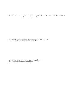 Algebra1 Unit 5 (linear eq) Khan Academy aligned mixed assessments