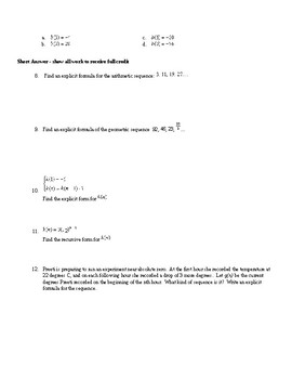 Algebra1 Unit 8 (sequences) Khan Academy aligned mixed assessments