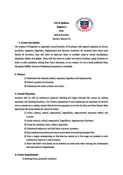 Algebra2 Syllabus with a Christian world view