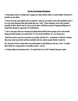 Algebra/PreAlgebra Tic Tac Toe Bundle